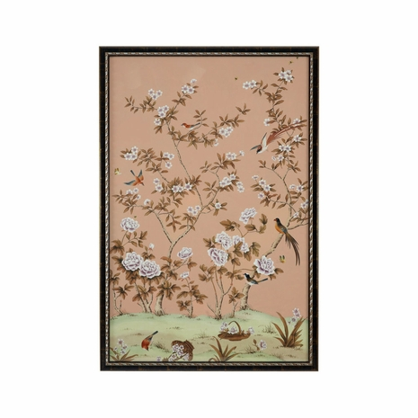 380281 Chelsea House Water Color On Silk Distressed Brown And Silver Frame Edgedale Panel Peach-A