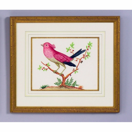 380286 Chelsea House Water Color On Paper Gold Frame And Fillet Pink Bird/Black Tail