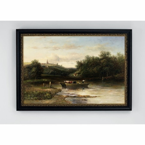 380315 Chelsea House Hand Painted Oil Black And Gold Frame Riverboat
