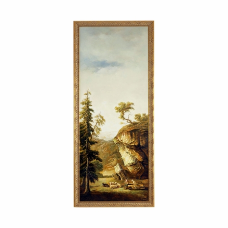 380338 Chelsea House Hand Painted Oil Gold Frame River Landscape-Sheep