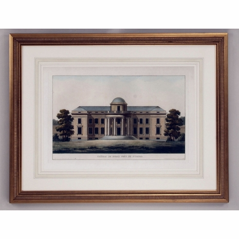 380344 Chelsea House Lithograph Print Gold Frame With French Mat Chateau De Duras