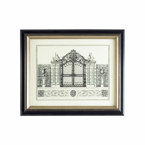 380346 Chelsea House Lithograph Print Black And Gold Frame Grand Garden Gate II