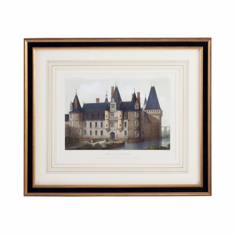 380366 Chelsea House Lithograph Print Black And Gold Frame With French Mat Chateau De Mainlenon