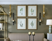 380369 Chelsea House Lithograph Print Gold Frame With French Mat Curtis Ferns I