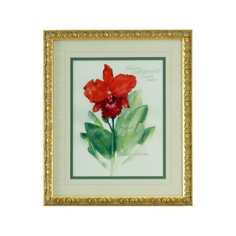380468 Chelsea House Lithograph Print Gold Frame With V-Groove Mat Elissas Garden - I