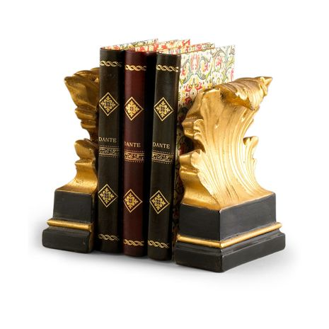 380548 Chelsea House Black And Gold Acanthus Leaf Design Black And Gold Acanthus Leaf Design Acanthus Leaf Bookends (Pr)