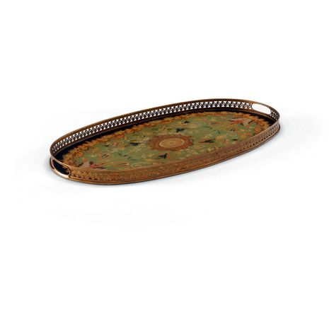 380566 Chelsea House Hand Painted Toleware Hand Painted Toleware Oval Serving Tray - Green