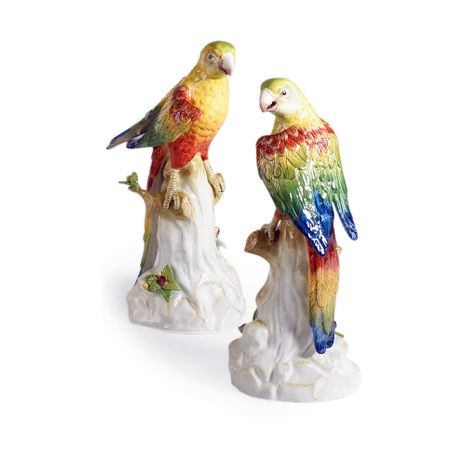 380700 Chelsea House Hand Painted Porcelain Hand Painted Porcelain Yellow Parakeets (Pr)