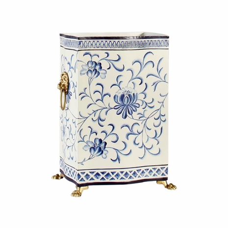 380861 Chelsea House Hand Painted Tole Lion's Head Handles Blue/White Wastebasket
