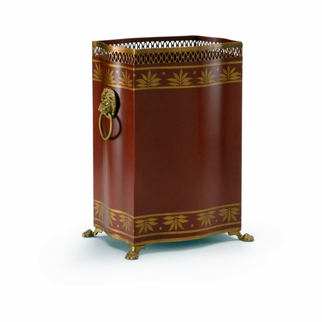 380864 Chelsea House Hand Painted Red And Gold Carlton Wastebasket - Red
