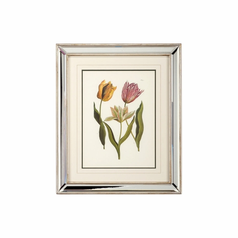 381287 Chelsea House Lithograph Print Mirrored Silver Leaf Frame Tulips - B