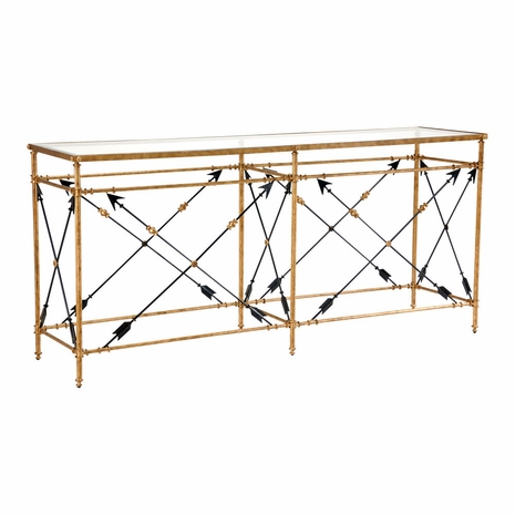 381348 Chelsea House Iron/Glass Gold Leaf Arrow Console (Lg)