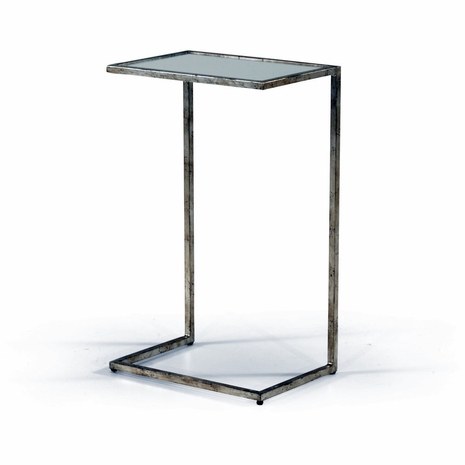 381589 Chelsea House Iron/Mirror Silver Leaf Matteson Side Table - Silver