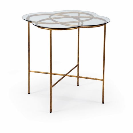 381697 Chelsea House Lisa Kahn Iron With Antique Gold Leaf Finish Lisa Kahn Collection Love Knot Side Table - Gold