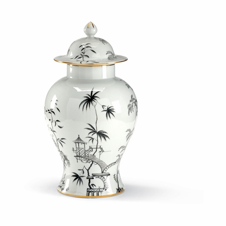 381729 Chelsea House Hand Decorated Porcelain Black/White Chinoiserie Jar