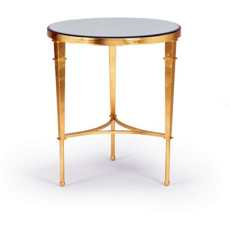 381864 Chelsea House Iron Gold Leaf Round Regent Table - Gold