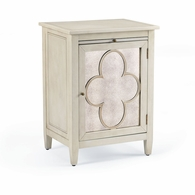 381978 Chelsea House Lisa Kahn Hand Finished Wood Quatrefoil Cabinet- Left