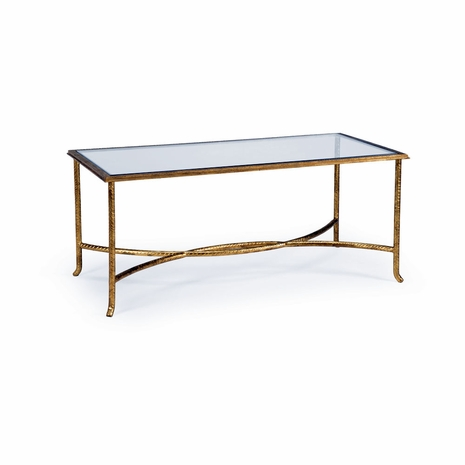 381984 Chelsea House Hand Made And Finished Gold Glass Top Watson Coffee Table - Gold