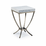 382002 Chelsea House Pam Cain Wrought Iron/Marble Antique Silver/Natural Brandon Side Table - Silver