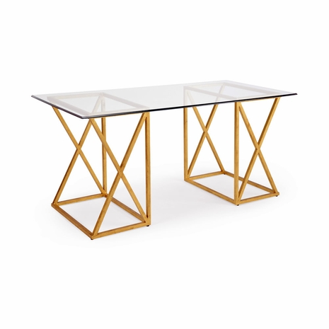 382028 Chelsea House Lisa Kahn Wrought Iron In Ant Gold Leaf Finish Glass Top Surface Gilt Desk - Gold