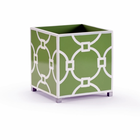 382062 Chelsea House Hand Painted Wood Green Planter (Sm)