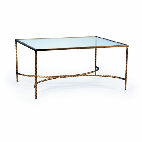 382177 Chelsea House Pam Cain Iron/Glass Gold Leaf Rope Cocktail Table
