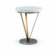 382178 Chelsea House Pam Cain Antique Gold Finish Iron With Marble Top-Pam Cain Design Trifold Table