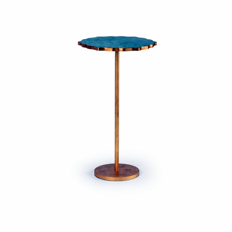 382218 Chelsea House Hand Painted Malachite Top Antique Gold Leaf Base Malachite Side Table