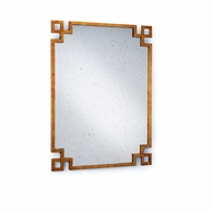 382296 Chelsea House Lisa Kahn Metal Frame - Antique Gold Finish Antique Mirror Parquetry Mirror - Gold
