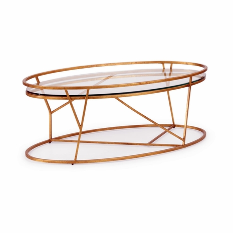 382301 Chelsea House Antique Gold Finish Clear Glass Mason Cocktail Table - Gold