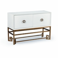 382442 Chelsea House Bradshaw Orrell White Lacquer Finish Antique Gold Finish - Iron Base Decker Cabinet