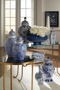 382539 Chelsea House Hand Painted Porcelain Blue And White - Gold Detail Marbleized Covered Urn (Lg)