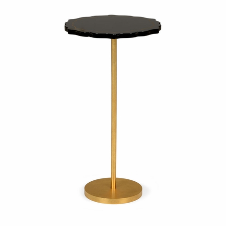 382549 Chelsea House Gold Leaf Finish - Iron Black Lacquer Top Black Side Table
