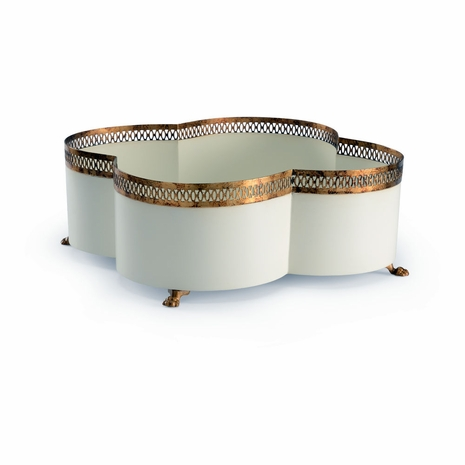 382597 Chelsea House Lisa Kahn Hand Made And Decorated Antique Gold And Cream Finish - Iron Tracery Cachepot - Cream