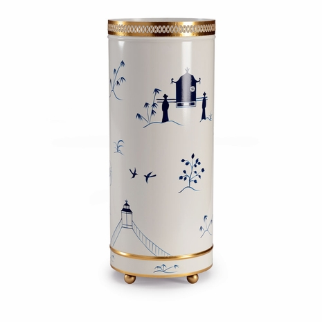 382600 Chelsea House Hand Decorated Blue On White Iron - Old Gold Trim Chinoiserie Umbrella Stand