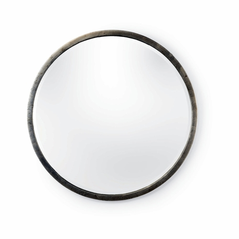 382602 Chelsea House Antique Silver Leaf Finish Iron Frame - Beveled Mirror Round Mirror - Silver (Lg)