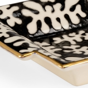 382697 Chelsea House Pam Cain Black And White Glazes - Gold Trim Porcelain Black Coral Tray