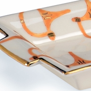 382698 Chelsea House Pam Cain Cream And Tan Glazes - Gold Trim Porcelain Stirrup Tray