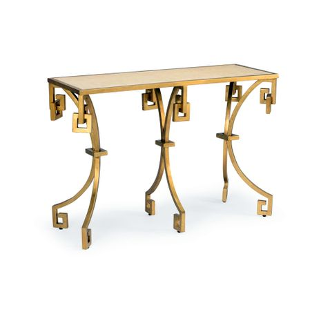 382762 Chelsea House Bradshaw Orrell Gold Leaf Finish - Aluminum Tan Marble Top Athena's Console - Gold/Tan