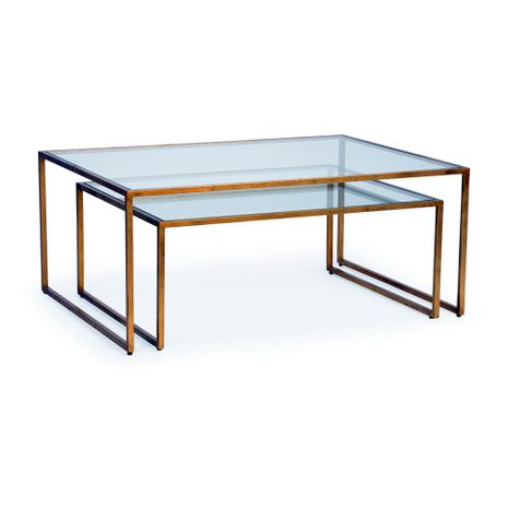 382769 Chelsea House Pam Cain Gold Leaf Finish - Iron Clear Glass Tops Nested Cocktail Tables (S2)