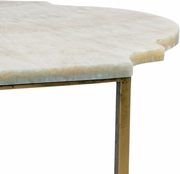 382770 Chelsea House Bradshaw Orrell Gold Leaf Finish - Iron Tan Marble Top Rabern Cocktail Table