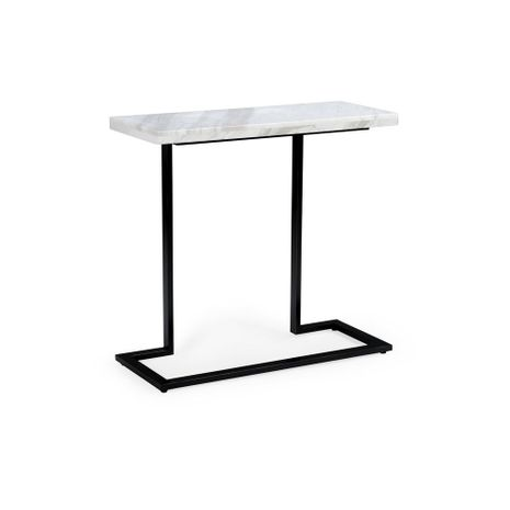 382785 Chelsea House Black Finish - Iron White Marble Top New York Console - White