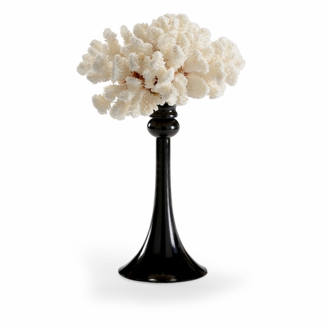 382889 Chelsea House White Coral, Glossy Black Finished Metal Base Coral Accent (Med)