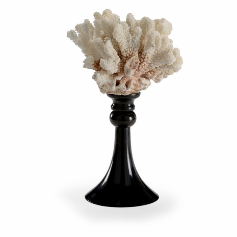 382890 Chelsea House White Coral Glossy Black Finished Metal Base Coral Accent (Sm)