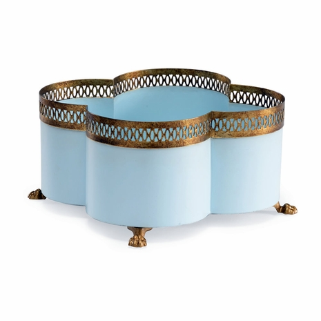 382898 Chelsea House Lisa Kahn Light Blue Finish Antique Gold Details - Iron Tracery Cachepot - Lagoon(Sm