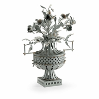 382943 Chelsea House Lauren Deloach Gray Finish Steel - Rust Finished Details French Tole Flower