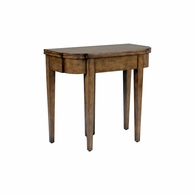 383082 Chelsea House Lauren Deloach Natural Wood Finish Wood - Blue Leather Inset Table - Blue