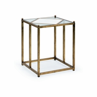 383226 Chelsea House Jamie Merida Iron Antique Gold Leaf Harlequin Side Table