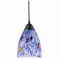 406-1BL ELK Lighting Classico 1-Light Mini Pendant in Dark Rust with Starburst Blue Glass