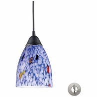 406-1BL-LA ELK Lighting Classico 1-Light Mini Pendant in Dark Rust with Starburst Blue Glass - Includes Adapter Kit
